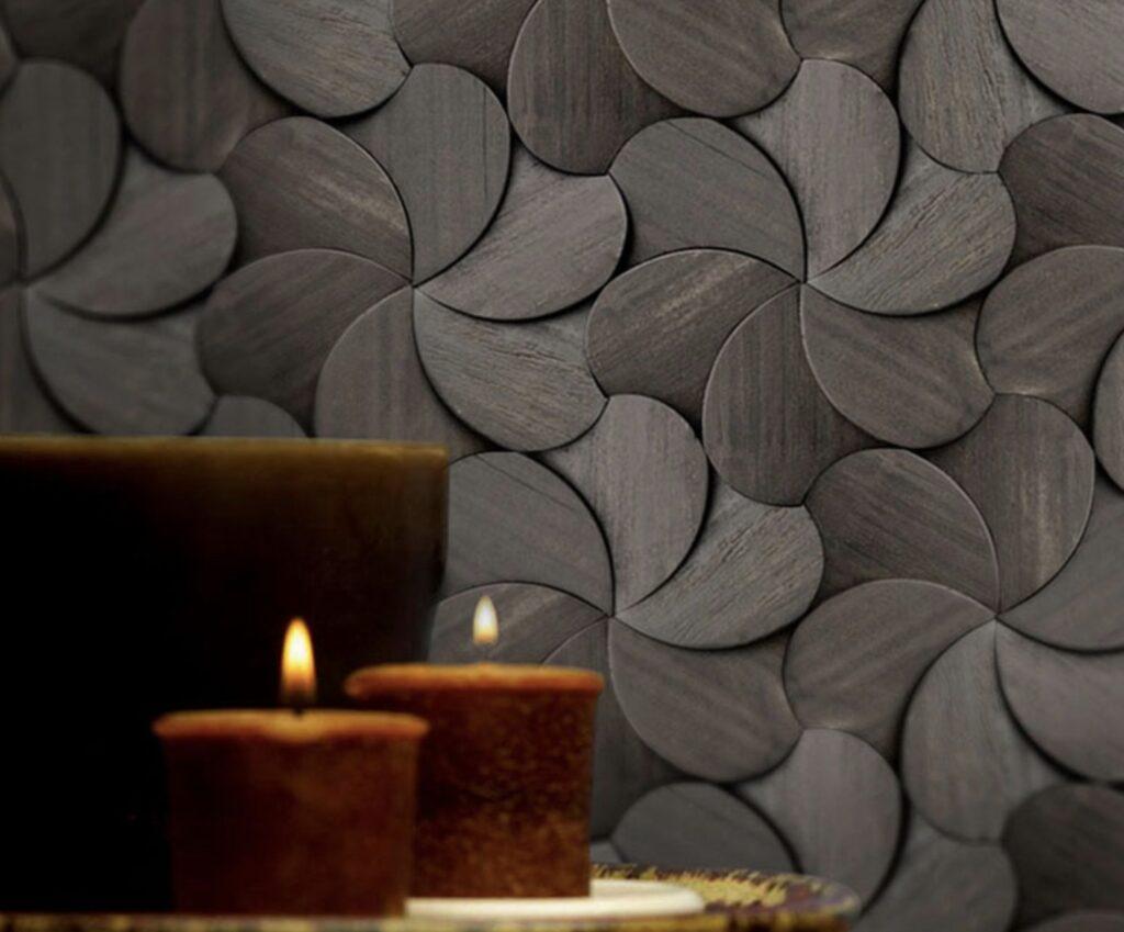 3d wall panel chestnut veneer chips color black