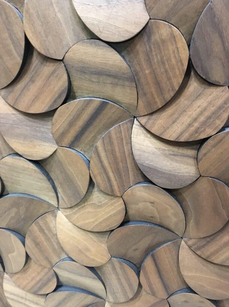 3d wall panel chestnut veneer chips transparent