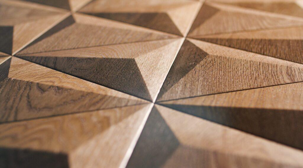 3d wall panel fine oak triangle satin oiled closeup