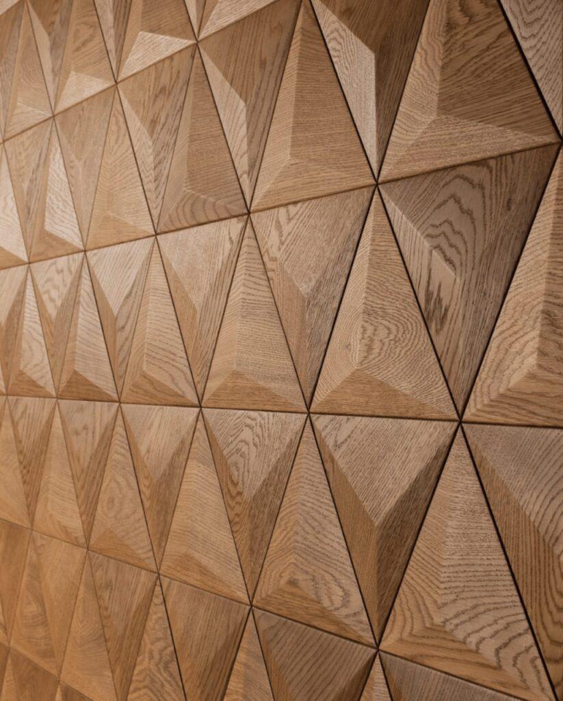 3d wall panel fine oak triangle satin oiled
