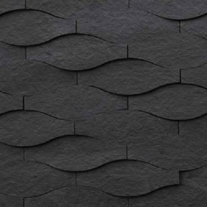 3d wall panel waves color black