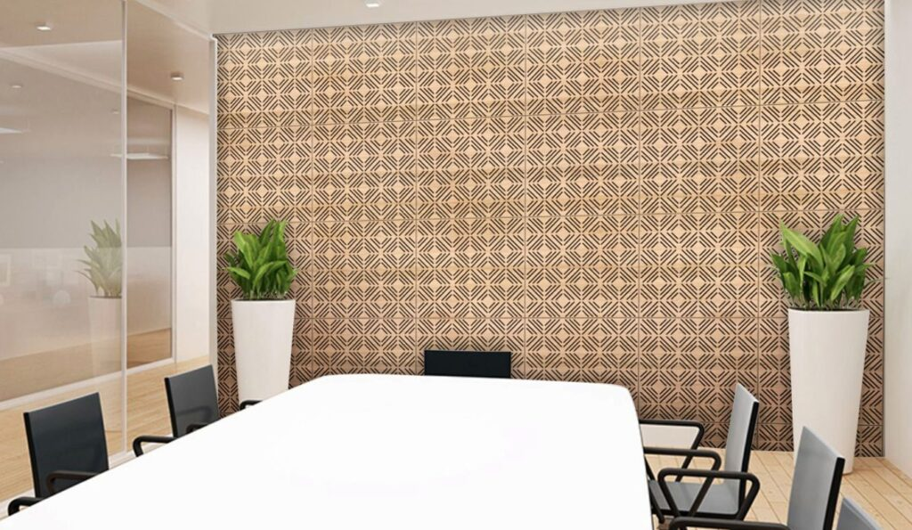 acoustic wall panel geomatric conference room