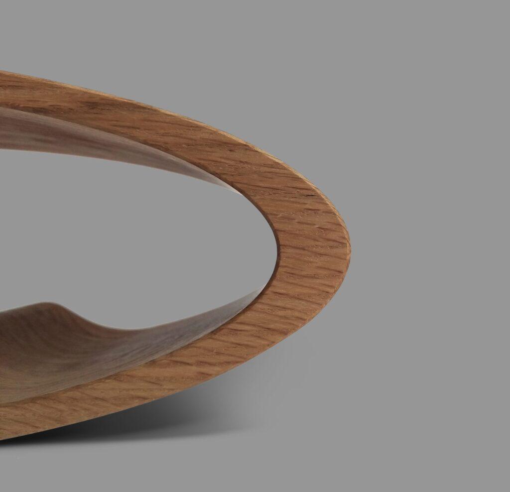 design winerack ellipse american walnut closeup