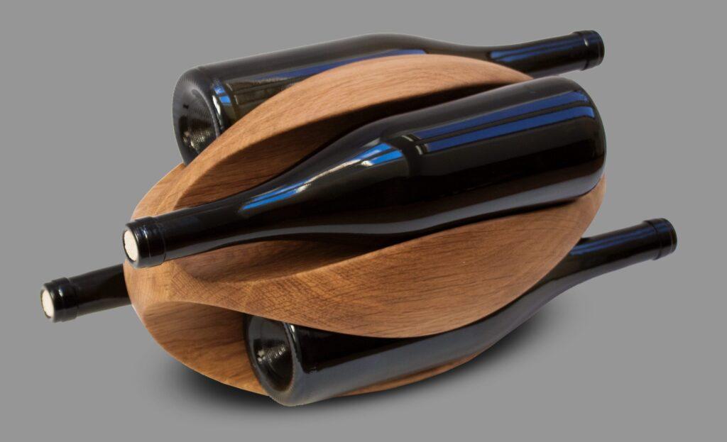 design winerack rugby 4 bottles oak rustic grade