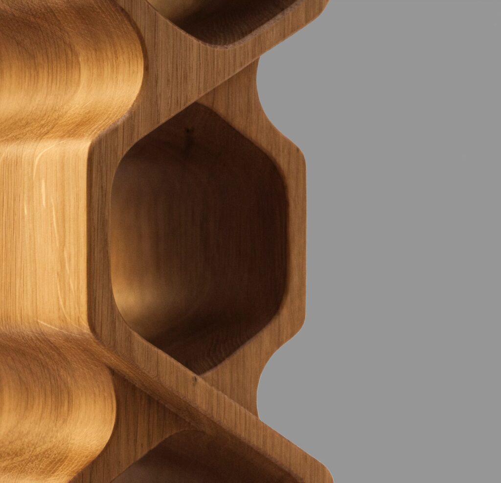 design winerack shift oak select grade closeup