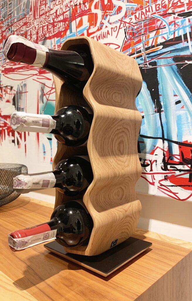 design winerack square edged 4 bottles oak select grade