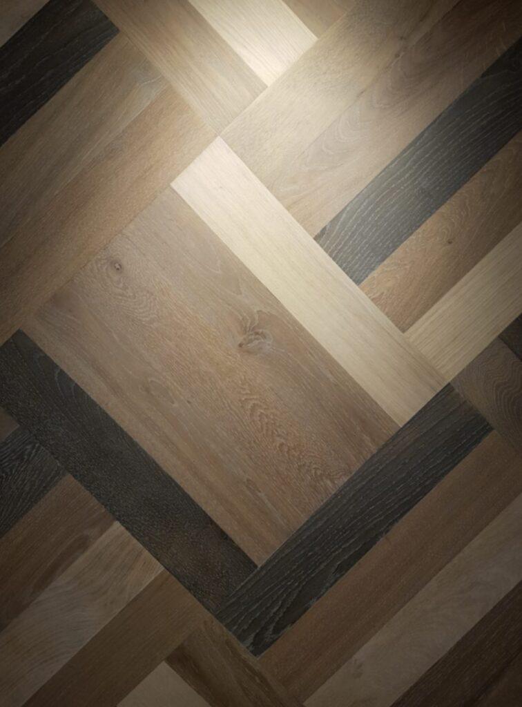 herringbone colorful pattern engineered flooring oiled natural grade