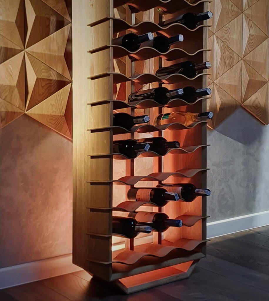 design winerack wave oak select 21 to 51 bottles